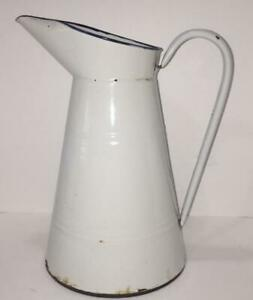 """Antq French Enamelware Large White Body Pitcher with Black Trim 13"""" Tall"""