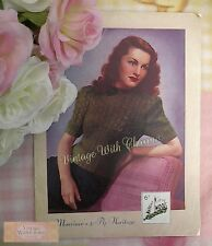 Vintage 1940s Lady's Jumper Knitting Pattern 'Elegance'. Fit 34-35in. Bust.