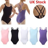 UK Kid Girl Ballet Spaghetti Strap Leotard Gymnastics Unitard Jumpsuit Dancewear