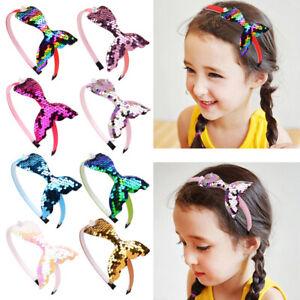 2X Sequin Mermaid Headband Baby Girls Hair Accessories Handmade Rainbow Hairband