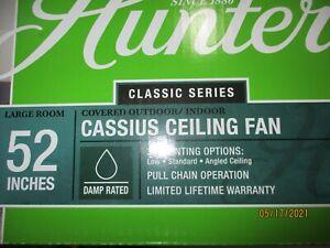 "Hunter 52"" Cassius Matte Black Indoor Damp Outdoor Ceiling Fan Pull Chain"