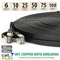 Network RJ45 Patch Cord Flat Cat 7 Cable 100ft Lot 10Gbps 600Mhz/s STP Molded