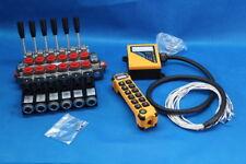 HYDRAULIC VALVE 6 SECTION VALVES 60l/min 12 V + REMOTE RADIO HIGH QUALITY!
