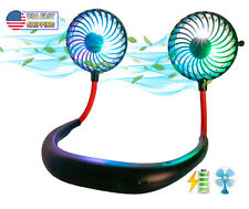 Neck Fan USB LED Cooling Portable Rechargeable Hands Free Wearable Neckband Fan