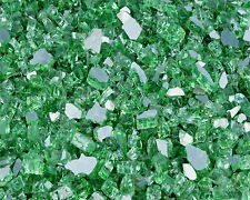 "10Lbs 1/4"" FireGlass EMERALD (Green) REFLECTIVE Fireplace,Fire Pit Glass Rocks"