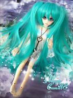 "7"" 1/4 SD/BJD Doll Hair Wig Anime VOCALOID Hatsune Miku Cosplay Long Green Wig"
