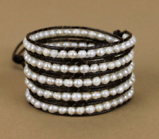 Genuine Freshwater Leather Pearl Wrap Bracelet Cream Beaded Beads Natural