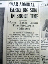 1937 newspaper WAR ADMIRAL WINS PREAKNESS HORSE RACE Baltimore MARYLAND  Pimlico