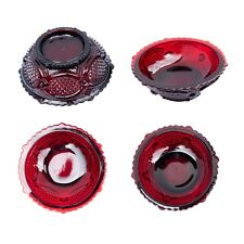 Avon Red Ruby Glass 1876 Cape Code Collection 4 Small Desert Bowls Vintage