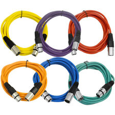 SEISMIC AUDIO (6 PACK) 10' XLR Microphone Patch Cables Color Cords