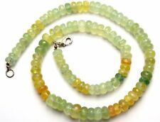 Natural Gem Prehnite Super Quality 7 to 9MM Facet Rondelle Beads Necklace 18""