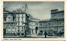 '900 Napoli Piazza Trieste e Trento auto d'epoca tram carrozze FP B/N VG ANIM