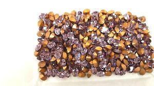 48 swarovski oval stones,8x6mm light amethyst,goldfoiled #4100