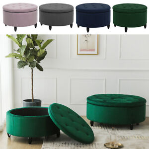 Large Chesterfield Footstool Round Ottoman Storage Footstool Pouffe Coffee Table