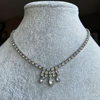 Marquise-Cut Glass Paste Vintage Rhinestone Crystal Fringe Choker Necklace 1950s