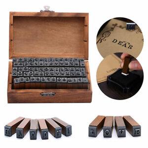 70Pcs Vintage Alphabet Letter Number Wood Rubber Stamps DIY Craft Set Wooden Box