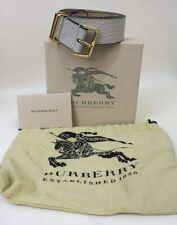 "BNIB BURBERRY Ladies Grain Conley 25mm Stone White Calf Leather Medium Belt 44"""