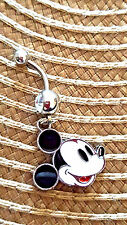 Mickey mouse old fashion style Belly Ring Navel Ring 14G Surgical Steel Dangle