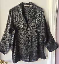 Private Luxuries Button Up Blouse Metallic Silver Black Floral Print Satin  XXL