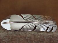 Large Navajo Indian Jewelry Sterling Silver Feather Hair Barrette Douglas Etsitt