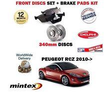 FOR PEUGEOT RCZ 1.6 GT + 2.0 HDi 2010-> FRONT BRAKE 340mm DISCS SET + PADS KIT
