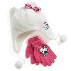 Hello Kitty Girls Winter Hat Gloves Set NEW One Size 4 & Up Sanrio Cat Pink Bow