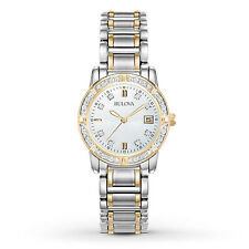 Bulova 98R107 Ladies Two Tone Stainless Steel Diamond Accent MOP Date 26mm Watch
