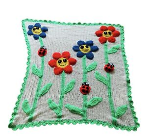 Handmade Crochet 3D Floral Smiling Flower Cream Blue Red Green Blanket 38 x 48