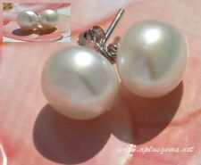 10mm White Button Round Freshwater Pearl Sterling Silver Post  Earring Studs