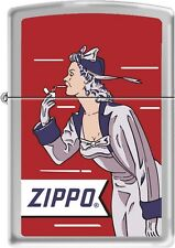 Zippo Windy Girl Red Satin Chrome Windproof Lighter  RARE HARD TO FIND