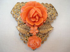Vintage Intricate Carved Faux Coral ROSE Coat or Scarf Clip Pin