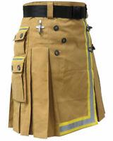 "Fireman Tactical Duty Kilt Utility Khaki 100% cotton Visible Reflect 24"" Drop"