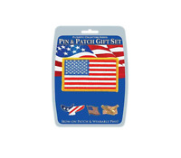 Eagle Emblems Pin&Patch Gift Set American Flag Iron On Patch With Three Pins