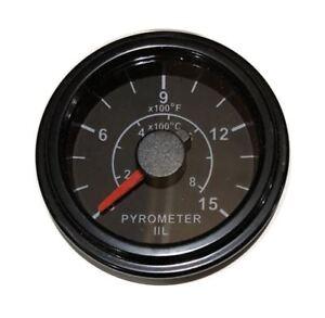 "Pyrometer 0-1500F EGT gauge, 2""/52mm black, w/9 ft (2.8M) K thermocouple probe"