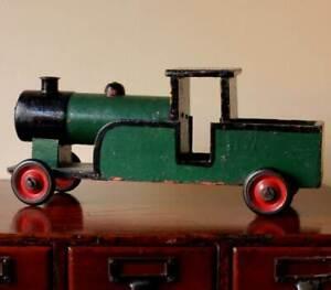 Vintage Wooden Train. Decorative Antique Wood Steam Engine Model Toy c1925