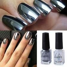 2x Nail Polish Mirror Chrome Effect Art Silver Shine Varnish Metallic &Base Coat