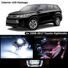 10PCS Cool White LED Bulbs Interior Kit for 2008 - 2017 Toyota Highlander