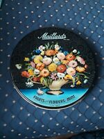VINTAGE MAILLARD'S METAL CANDY TIN Fruits and Flowers in Mint 1LB Round NY
