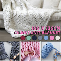 100x120cm Soft Warm Hand Chunky Knitted Home Sofa Bed Blanket Sofa Bed Blanket