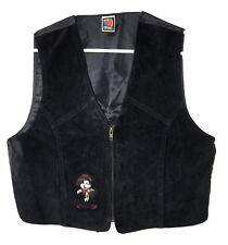 Vintage 80's Cowboy Mickey Mouse Vest Black Suede Leather Womens size M/L Short