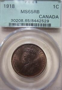 1918 Canada Large Cent Coin. PCGS MS-65