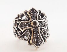 MENS HEAVY BLACK CROSS SOLID STERLING SILVER 925 STATEMENT RING Size 10 11 12 13