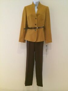 NWT Tahari Mustard/Brown Lenny 2 Pc Womens Pants  Suit Size 8