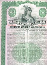 German External Loan 1924 (Dawes-Loan), 1000 $ Gold Bond, cancelled/ no coupons,