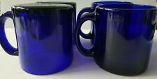 4 Vintage Cobalt Blue Glass Coffee Mugs Cups 13 oz Made in USA NICE! Not painted
