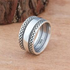 Unisex Bali Swirl Braided Rope Wide Band 925 Silver Thumb Ring Sizes 6-10 NEW