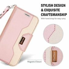 iPhone XS Wallet Case Leather Flip Card Slots Stand Cover Magnetic Closure Pink