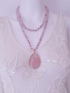 Long Natural Pink Rose Quartz Stone Knotted Bead Pendant Necklace