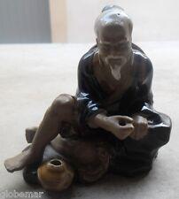 Statue vintage porte encens homme chinois signé War Jiang Chine Numéroté 55 - 13