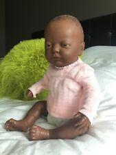 "Vintage 20"" African American Berjusa Anatomically correct Baby Girl doll"